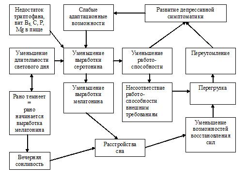 Схематическое представления основных причин сезонной (осенней или зимней депрессии)